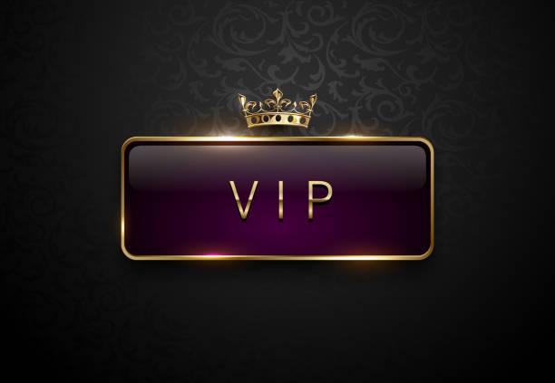 bildbanksillustrationer, clip art samt tecknat material och ikoner med vip-royal purple label med gyllene ram och kronan på svart blommönster bakgrund. mörk premium mall. vektorillustration - celebrities of age