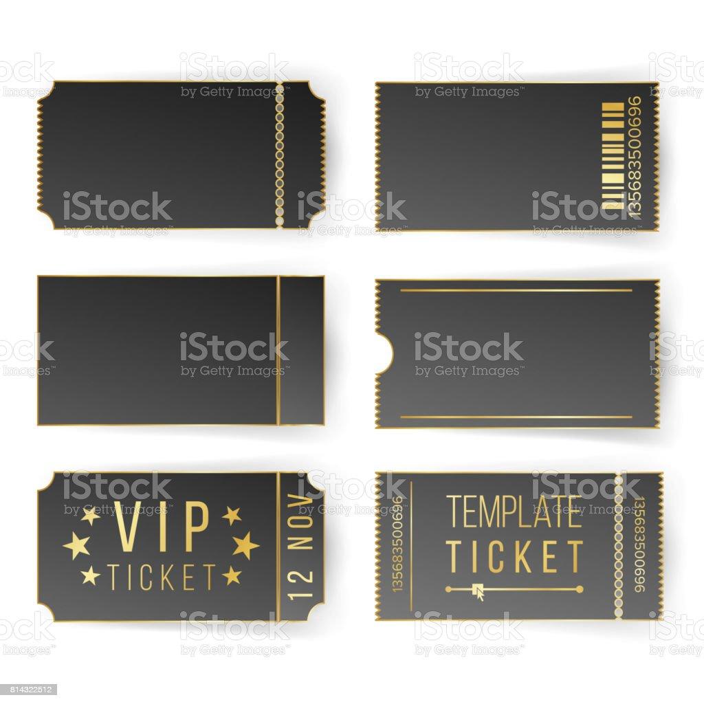 Vipticket Vorlage Vector Leere Schwarze Tickets Und Gutscheine ...