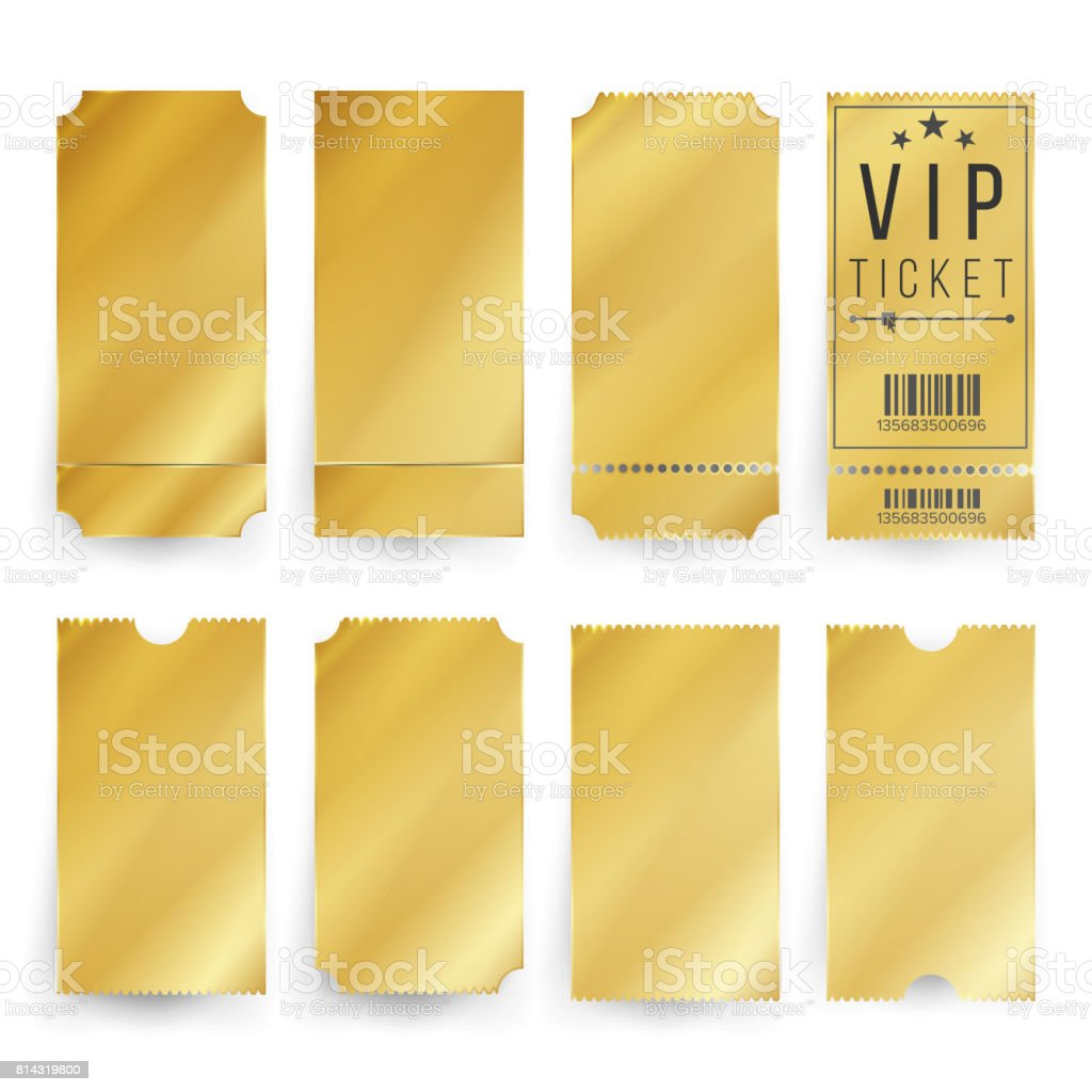 Vip Ticket Template Vector. Empty Golden Tickets And Coupons Blank. Isolated Illustration vector art illustration