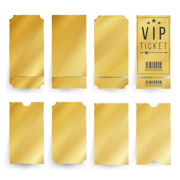 illustrations, cliparts, dessins animés et icônes de ticket vip template vecteur. les billets or vides et coupons blanc. illustration isolée - billet