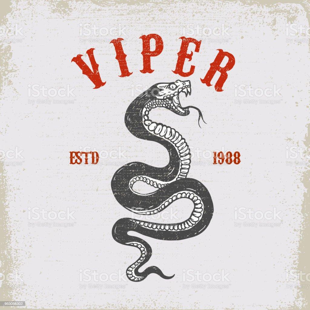 Ilustración de serpiente víbora sobre fondo grunge. Elemento de diseño para el emblema, camiseta, cartel, tarjeta. - ilustración de arte vectorial