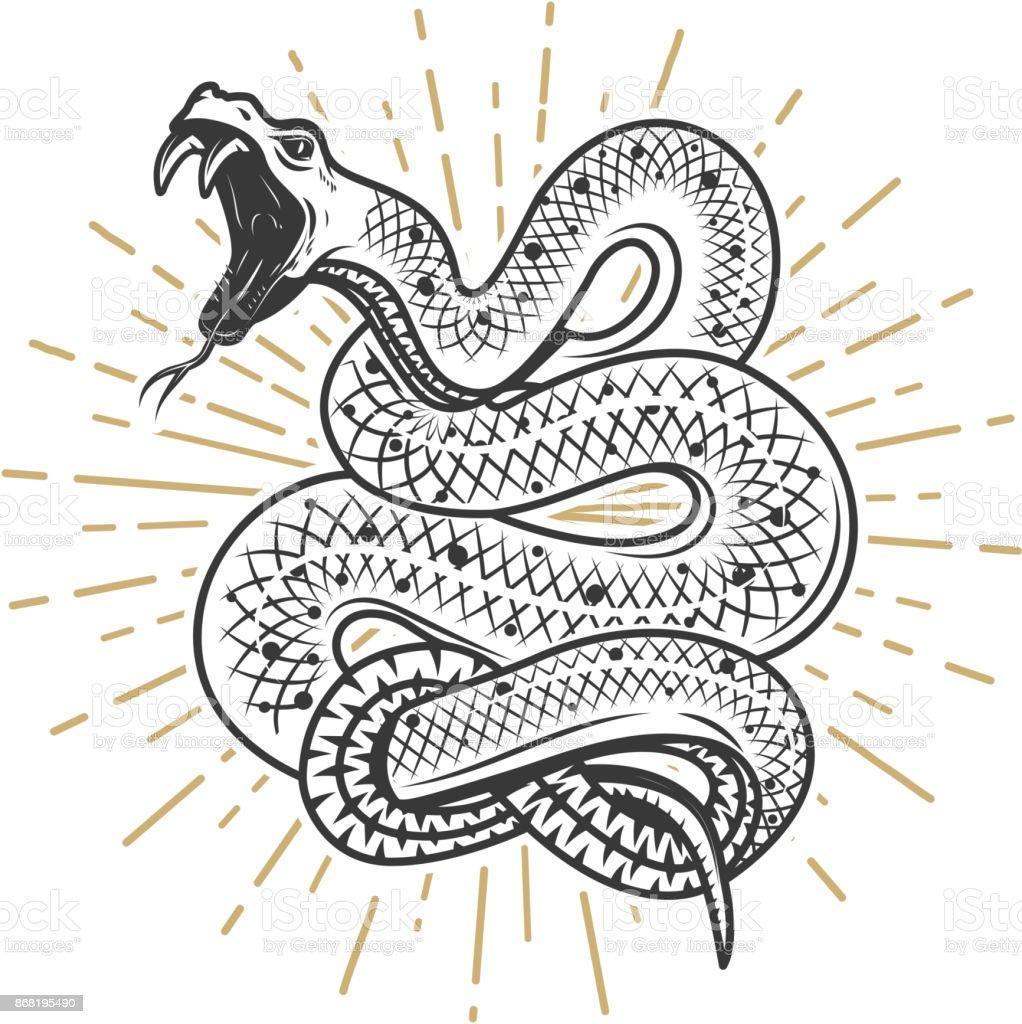Ilustración de serpiente víbora sobre fondo blanco. Elemento de diseño de cartel, emblema, signo. Ilustración de vector - ilustración de arte vectorial
