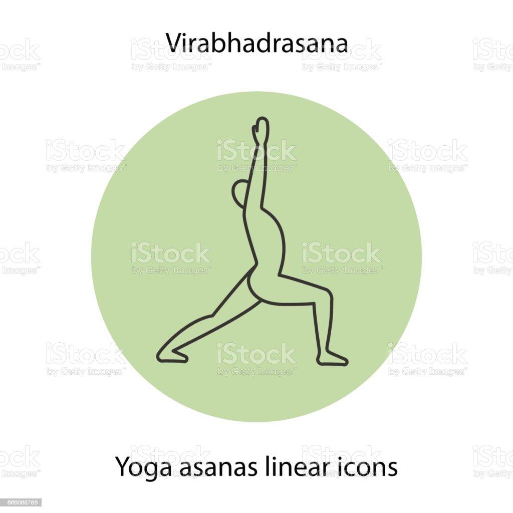 Virabhadrasana yoga position linear icon. Thin line. Vector