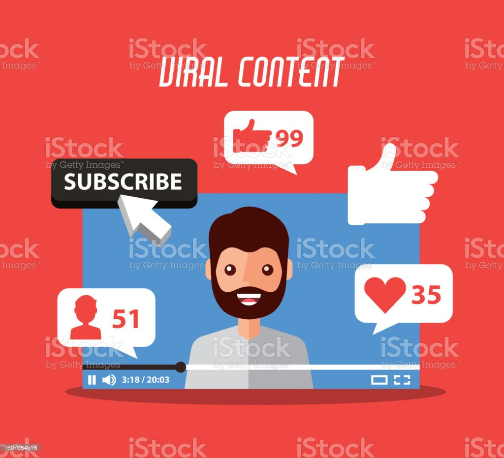 viral content beard man in video suscribe like follow comment vector art illustration