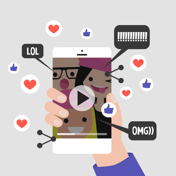 illustrazioni stock, clip art, cartoni animati e icone di tendenza di viral content conceptual illustration. likes, shares and comments popping up on the mobile screen. vertical video format for millennials. flat editable vector, clip art - gen z