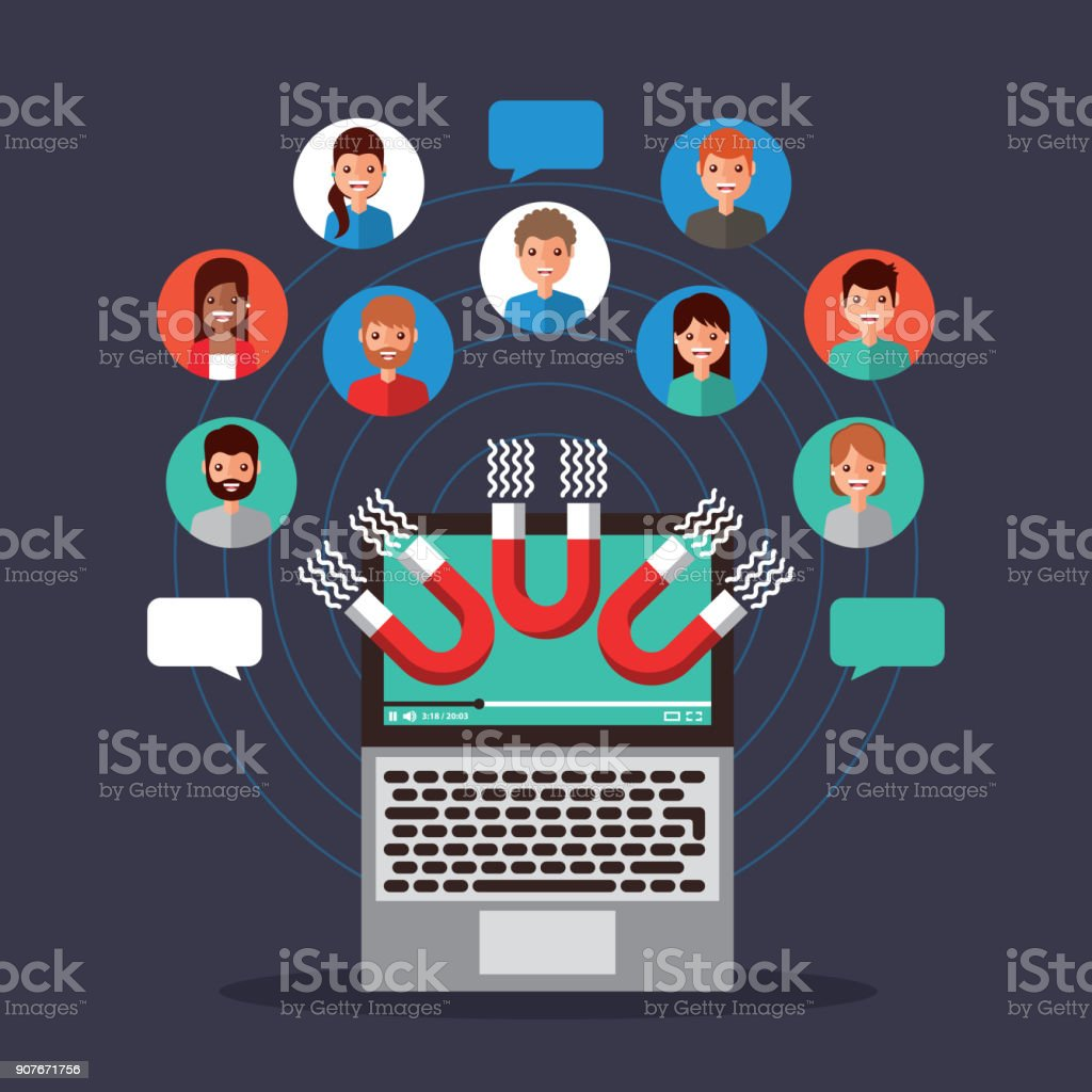 viral content magnetic attraction people communication vector art illustration