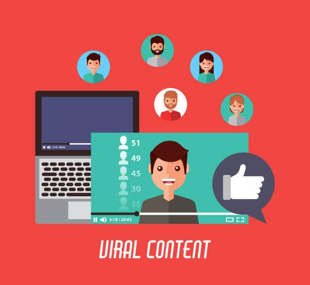 viral content mobile video like love comment viral content mobile video like love comment vector illustration lyric stock illustrations