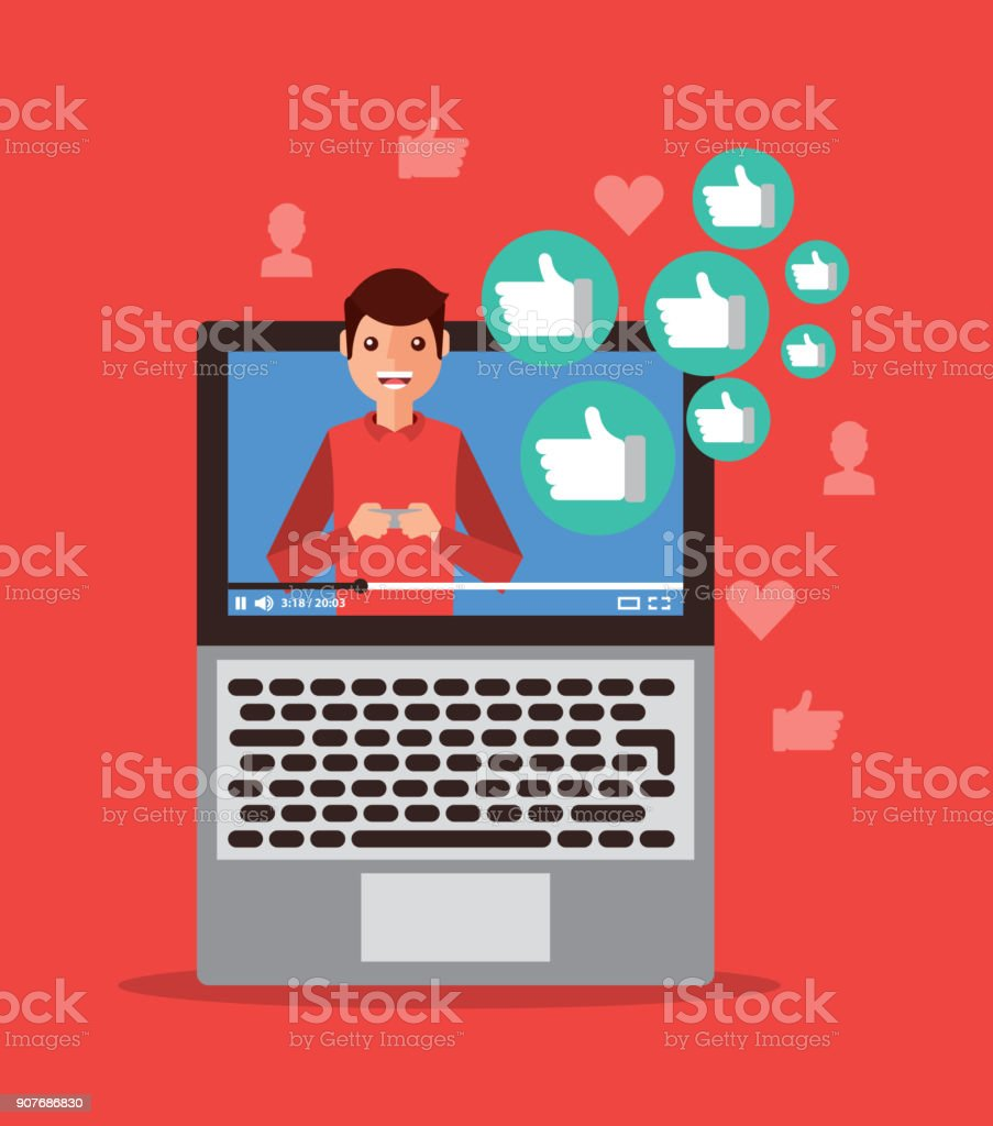 viral content video influencer laptop digital vector art illustration