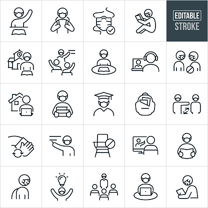 Viral Illness Protection In Education Thin Line Icons - Editable Stroke