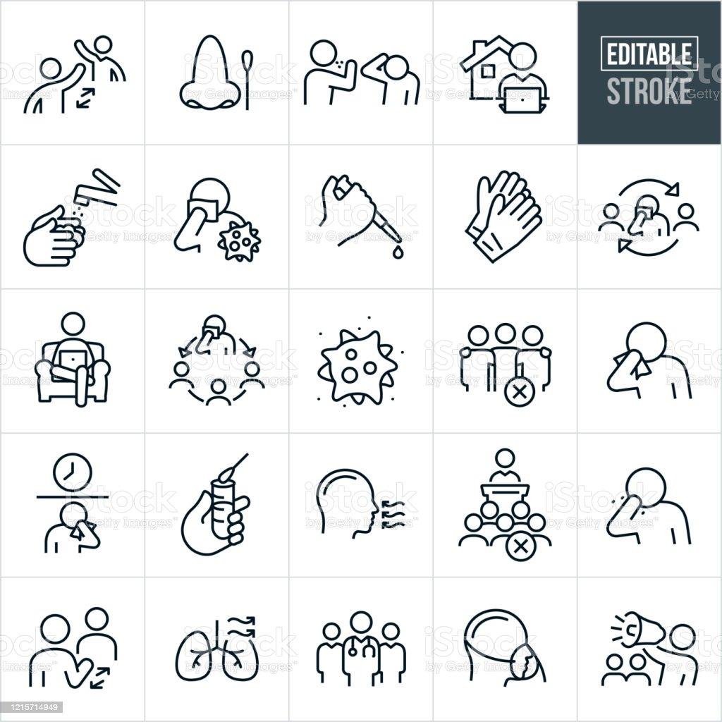 Virale Krankheit dünne Linie Icons - editierbare Schlaganfall - Lizenzfrei Abstand halten - Infektionsvermeidung Vektorgrafik