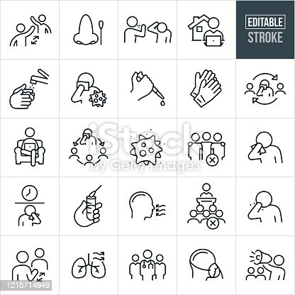 A set of viral illness icons that include editable strokes or outlines using the EPS vector file. The icons include two people practicing social distancing, nose with cotton swab, person sneezing on another person, person working at computer at home, hand washing with water and soap, virus cell, laboratory testing, disposable gloves, virus spread, coronavirus, covid-19, sick person, contagious person, person sneezing into tissue, person sneezing into bare hand, self-isolation, quarantine, test tube, medical test, team of doctors, human lungs, person wearing oxygen mask, and a person on a bullhorn warning others of a pandemic.