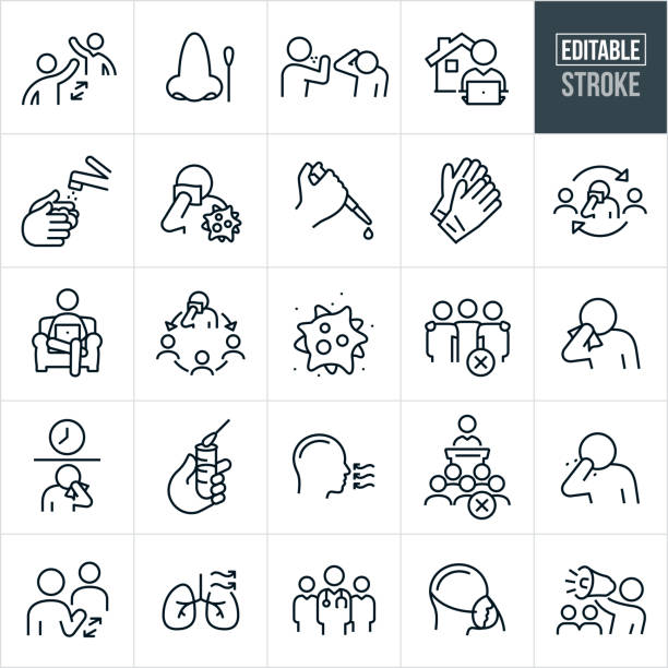 Viral Illness Thin Line Icons - Editable Stroke A set of viral illness icons that include editable strokes or outlines using the EPS vector file. The icons include two people practicing social distancing, nose with cotton swab, person sneezing on another person, person working at computer at home, hand washing with water and soap, virus cell, laboratory testing, disposable gloves, virus spread, coronavirus, covid-19, sick person, contagious person, person sneezing into tissue, person sneezing into bare hand, self-isolation, quarantine, test tube, medical test, team of doctors, human lungs, person wearing oxygen mask, and a person on a bullhorn warning others of a pandemic. medical test stock illustrations