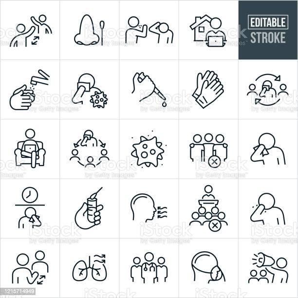 Virale Krankheit Dünne Linie Icons Editierbare Schlaganfall Stock Vektor Art und mehr Bilder von Abstand halten - Infektionsvermeidung