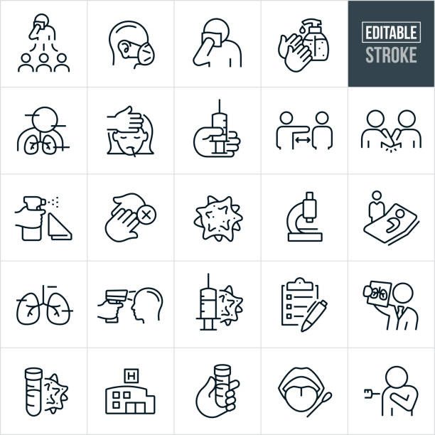 Viral Infection Thin Line Icons - Editable Stroke A set of coronavirus and other virus illness icons that include editable strokes or outlines using the EPS vector file. The icons include a sick person spreading the virus to others, virus, person sneezing or coughing into handkerchief, hands using hand sanitizer, coronavirus symptoms, girl with fever, virus vaccine, social distancing, elbow bump, cleaner, not contact, person wearing protective mask, microscope, person with coronavirus in hospital bed, infrared temperature gun, checklist, doctor reviewing chest x-ray, covid-19 test, hospital, mouth being swabbed and a person being immunized to name a few. sudden acute respiratory syndrome stock illustrations