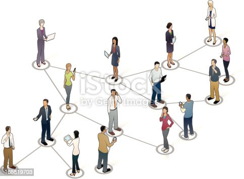 People stand on a viral marketing diagram.