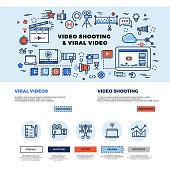 Viral video marketing, movie film-making, professional TV production vector web site design. Video technology making and promotion. Concept internet video multimedia business illustration