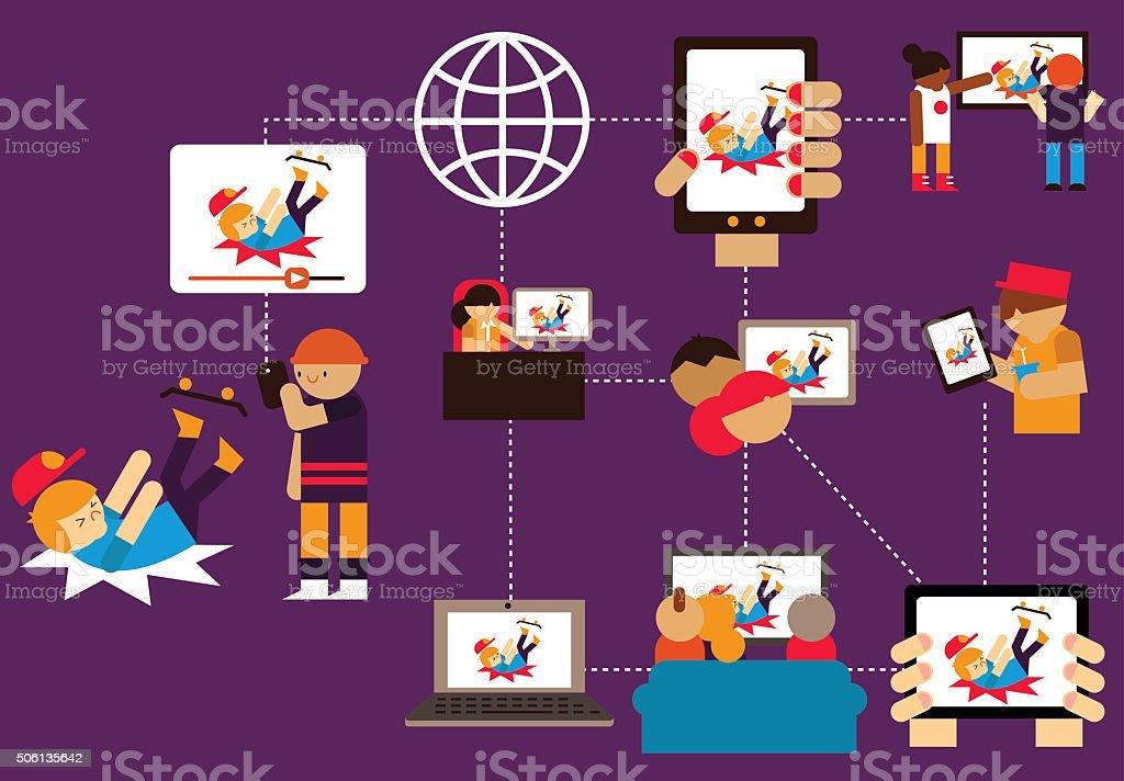 Viral Video vector art illustration