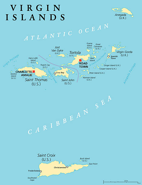 virgin islands political map vector art illustration