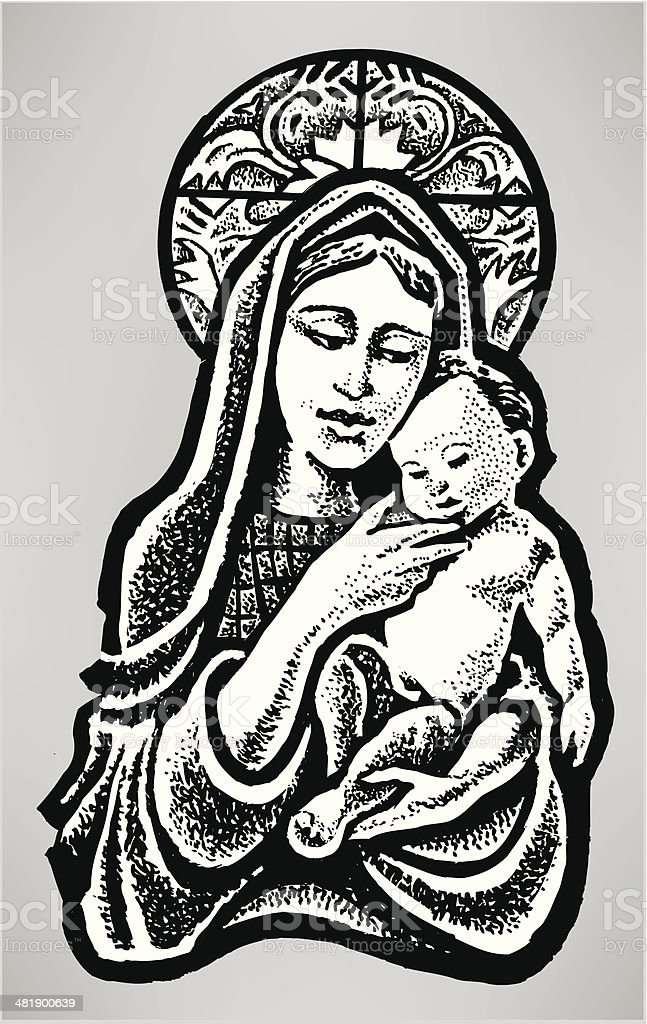 Virgin Mary and Baby Jesus - Christian Religion vector art illustration