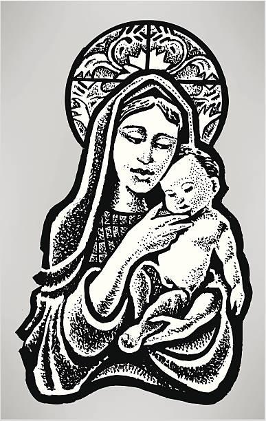 virgin mary and baby jesus - christian religion - mimari illüstrasyonlar stock illustrations