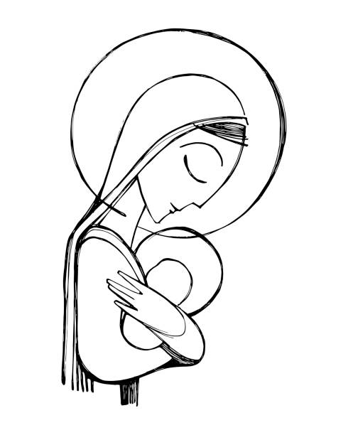 jungfrau maria und jesus-jjesus illustration - jungfrau stock-grafiken, -clipart, -cartoons und -symbole