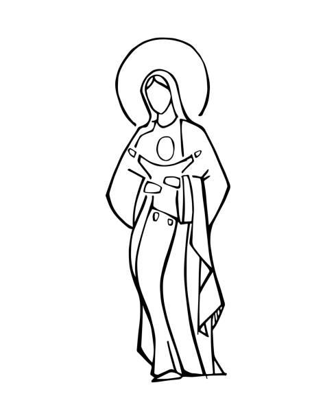 jungfrau maria und baby jesus tusche vektorabbildung - jungfrau stock-grafiken, -clipart, -cartoons und -symbole
