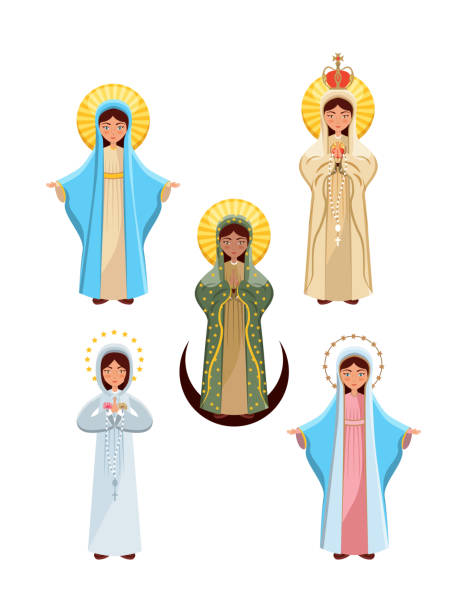 symbol der jungfrau maria - jungfrau stock-grafiken, -clipart, -cartoons und -symbole