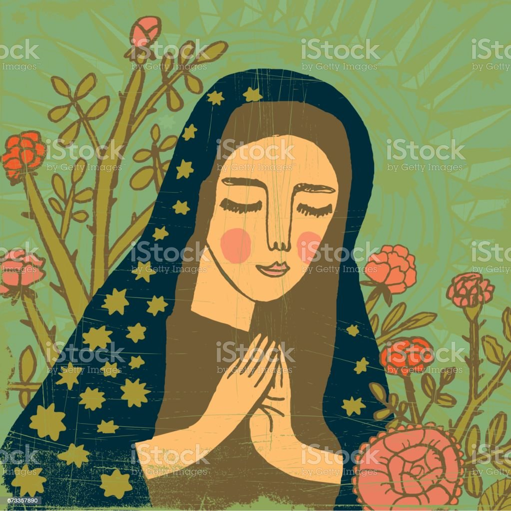 Virgin Mary praying vector art illustration