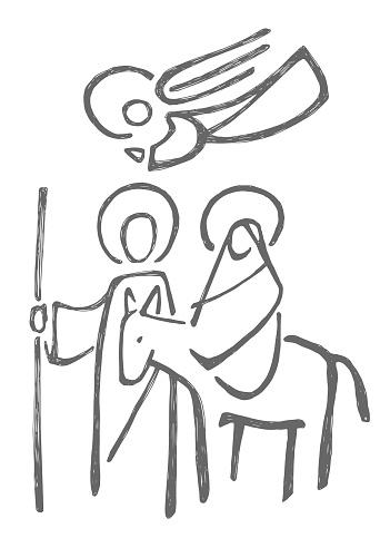 Virgin Mary, Saint Joseph and angel illustration