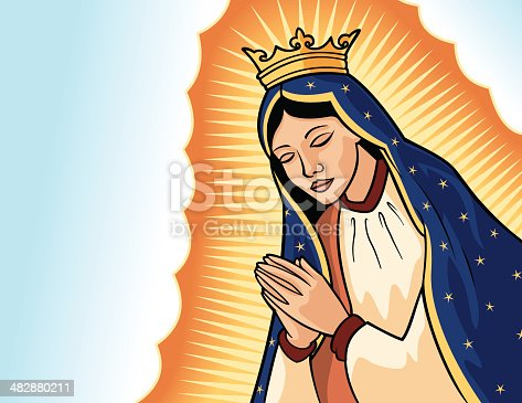 A vector illustration of the Virgin of Guadalupe, also called Our Lady of Guadalupe. This is not an exact reproduction of the famous image of the virgin, but my own interpretation of it. Basic gradients and blends.