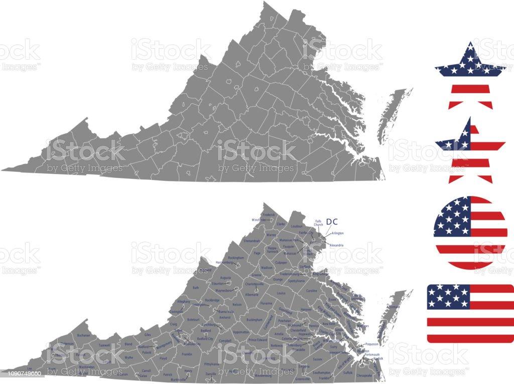 Abingdon Virginia Map.Virginia County Map Vector Outline In Gray Background Virginia State