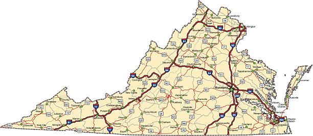 Virginia Highway Map (vector) vector art illustration