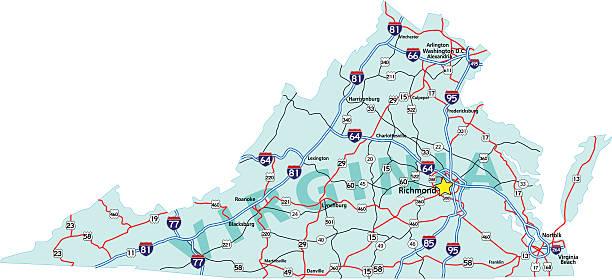 Virginia Interstate Map vector art illustration