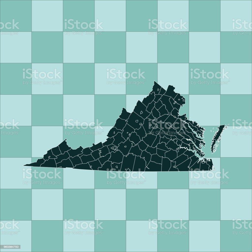Virginia map - Grafika wektorowa royalty-free (Ameryka Północna)