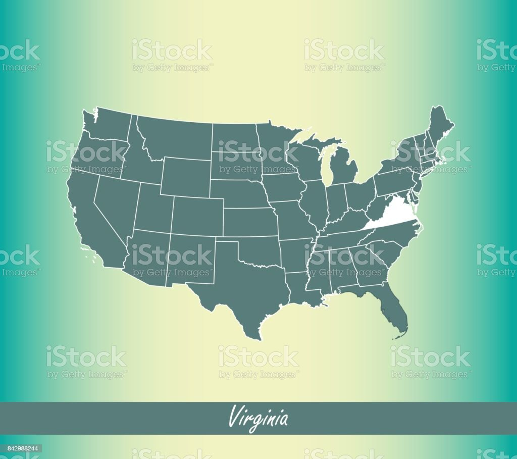 Virginia Map Vector Outline Illustration Highlighted In Us Map ...