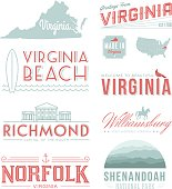 A set of vintage-style icons and typography representing the state of Virginia, including Virginia Beach, Williamsburg, Richmond and Norfolk. Each items is on a separate layer. Includes a layered Photoshop document. Ideal for both print and web elements.