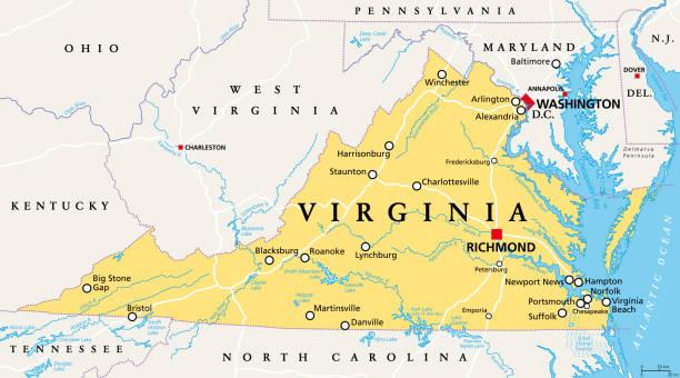 Virginia, VA, political map, Old Dominion, Mother of Presidents vector art illustration