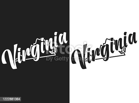 istock Virginia vector logo. Illustration of the USA emblema. The US state contour on the black and white background. Lettering and outline of territory of the United States of America. Card, print, t-shirt 1222881364