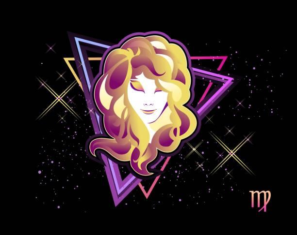bildbanksillustrationer, clip art samt tecknat material och ikoner med jungfrun stjärntecken - kvinna ansikte glow