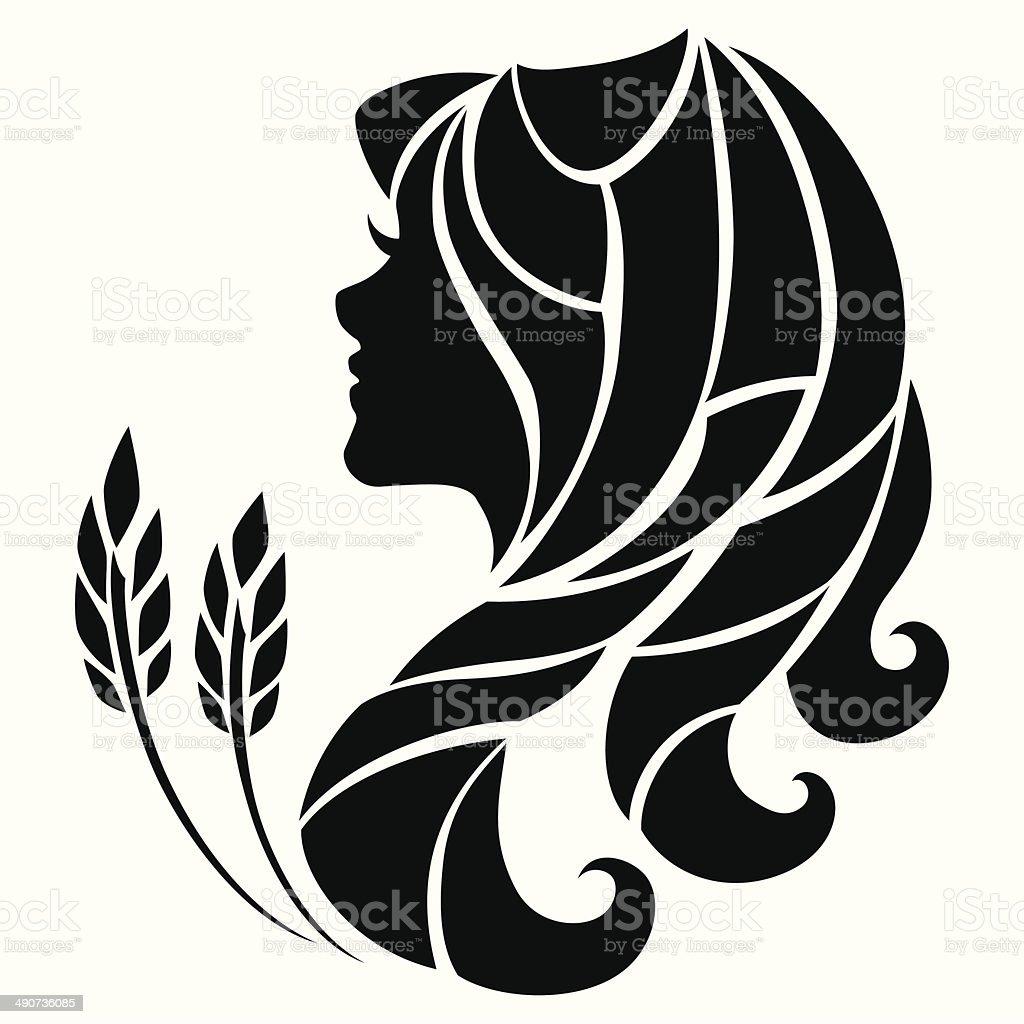 Virgo zodiac sign Stylized symbol of Virgo isolated on white background Adult stock vector
