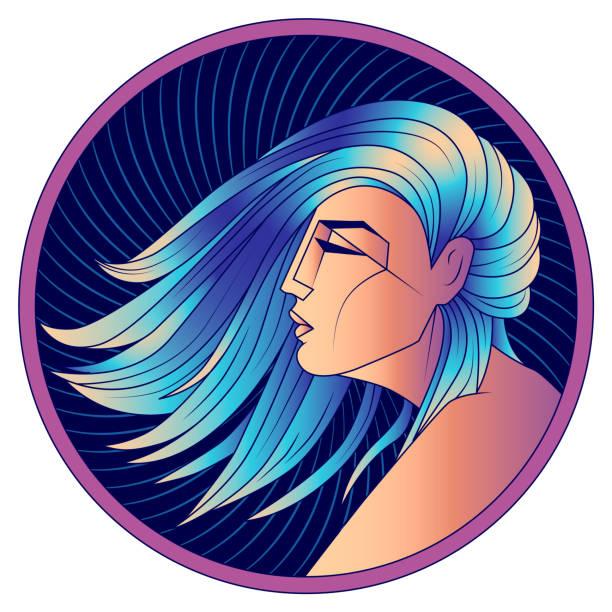 sternzeichen jungfrau, frau mit blauen haaren, vektor - jungfrau stock-grafiken, -clipart, -cartoons und -symbole