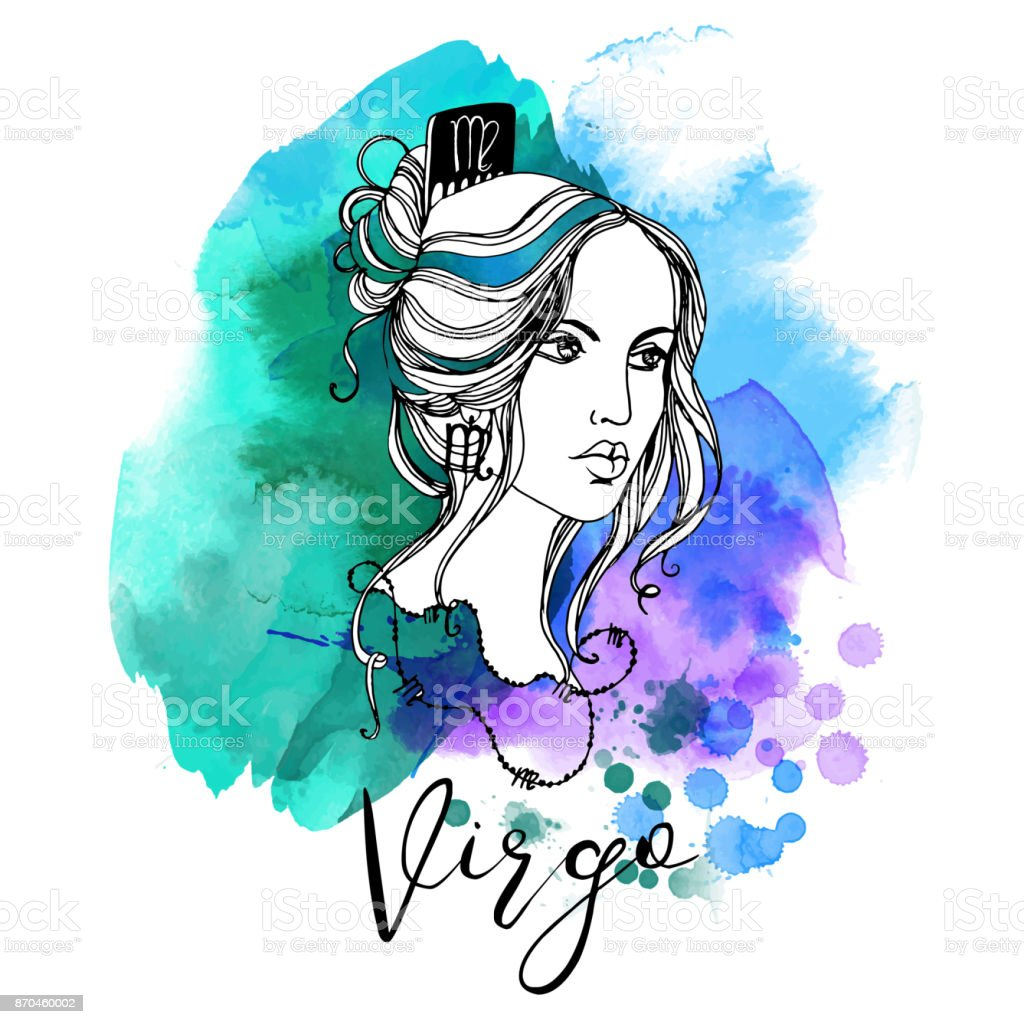 Virgo Zodiac signs girl vector art illustration