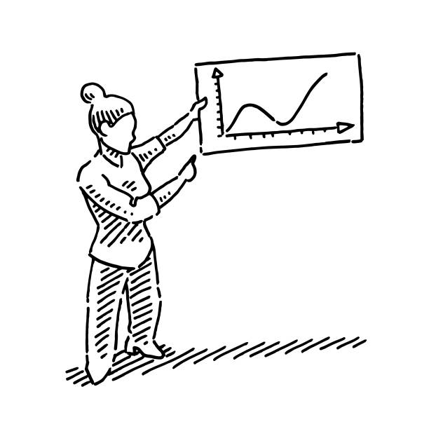 Virologist Explaining Pandemic Graph Drawing Hand-drawn vector drawing of a female Virologist Explaining a Pandemic Graph on a sign. Black-and-White sketch on a transparent background (.eps-file). Included files are EPS (v10) and Hi-Res JPG. women stock illustrations