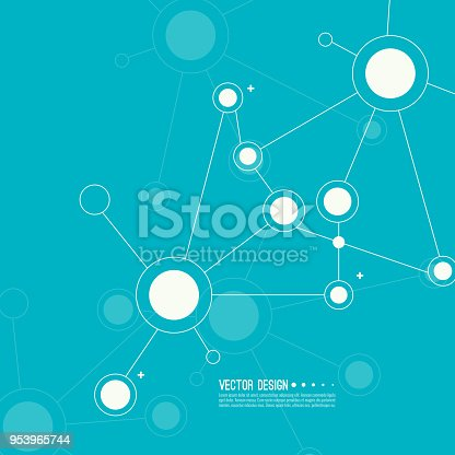Virtual abstract background with particle, molecule structure. genetic and chemical compounds. creative vector. Science and connection concept. Social network.