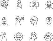 Virtual and augmented reality icons vector set