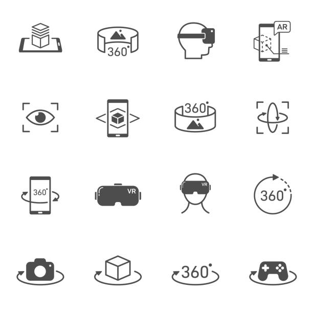 virtual and augmented reality vector icons set isolated on white background. ar and vr technology icons for web, mobile apps and ui design. futuristic technology concept - turystyka stock illustrations