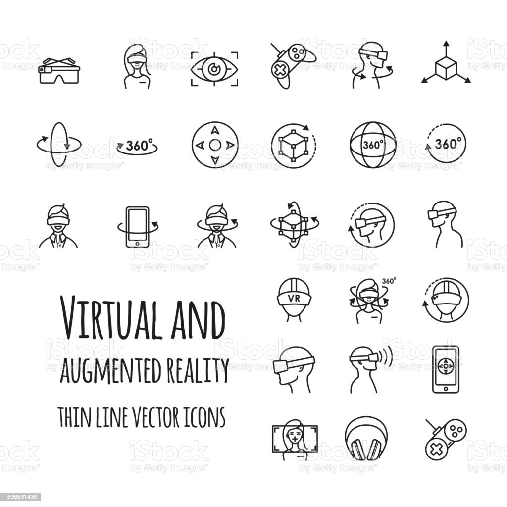 Virtual and augmented reality vector icons set vector art illustration