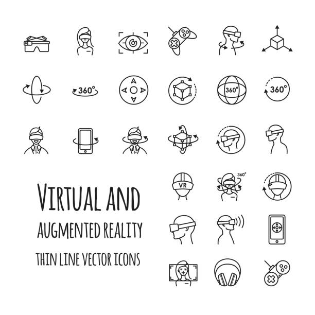 Virtual and augmented reality vector icons set Virtual and augmented reality vector icons set for your design vr stock illustrations