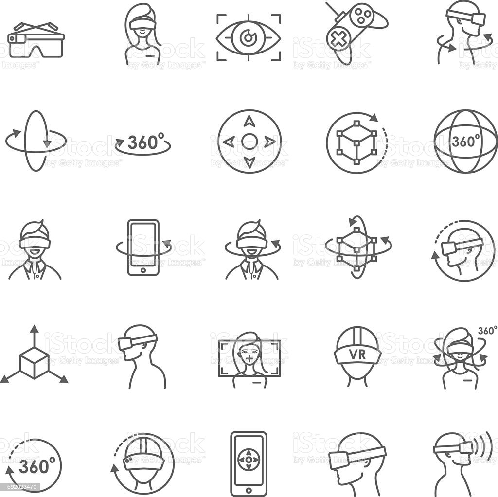 Virtual and augmented reality vector icons vector art illustration