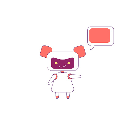 Virtual assistant flat color vector character. Girl bot with smirk point direction. Red humanoid robot with speech bubble isolated cartoon illustration for web graphic design and animation